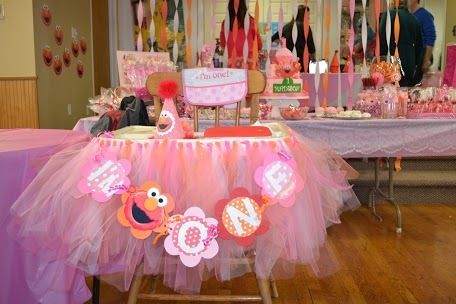 Photo 4 of 21: pink and orange polka dot girly Elmo / Birthday layla is one!! | Catch My Party