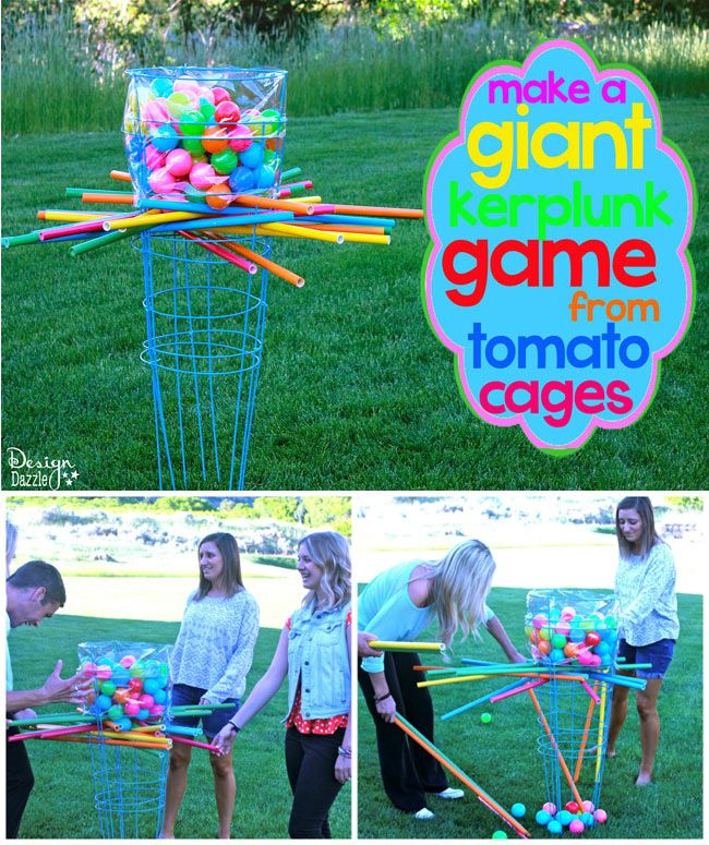 Make a giant outdoor kerplunk game using tomato cages! Easy to make no special tools needed.  Design Dazzle #summerfun