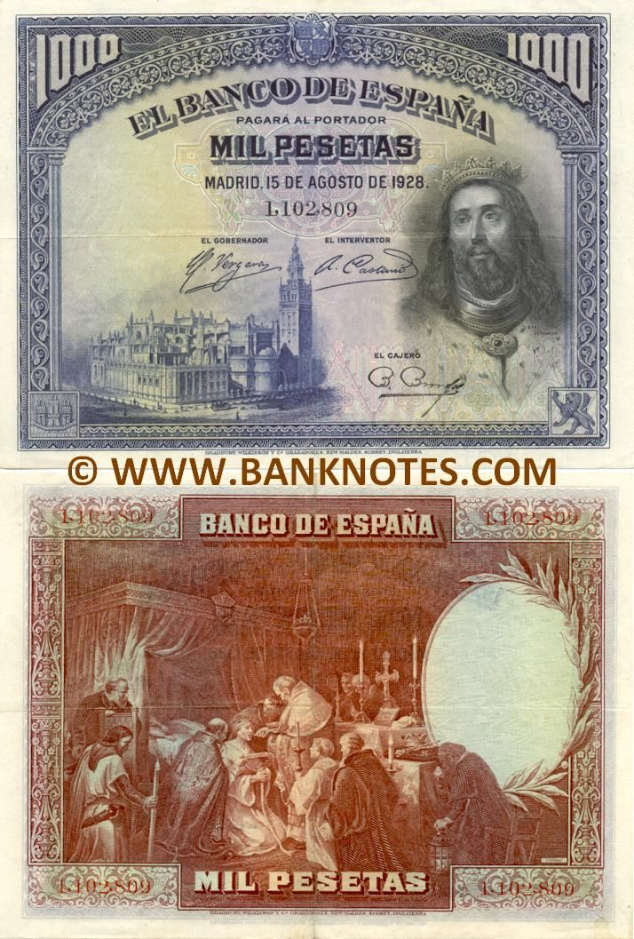 """Spain 1000 Pesetas 1928  Front: Cathedral of Sevilla - The Cathedral of Saint Mary of the See (Spanish: Catedral de Santa María de la Sede), better known as Seville Cathedral. King Fernando I """"El Magno"""" (Saint Fernando III; Ferdinand I of León and Castile; San Fernando el Santo) (c. 1015 - 1065); Portrait extract from the famous painting at the Cathedral of Seville. Coat of arms of the Spanish Monarchy. Back: Painting """"The Last Communion of San Fernando"""" (by Alejandro Ferrant y Fischermans)."""
