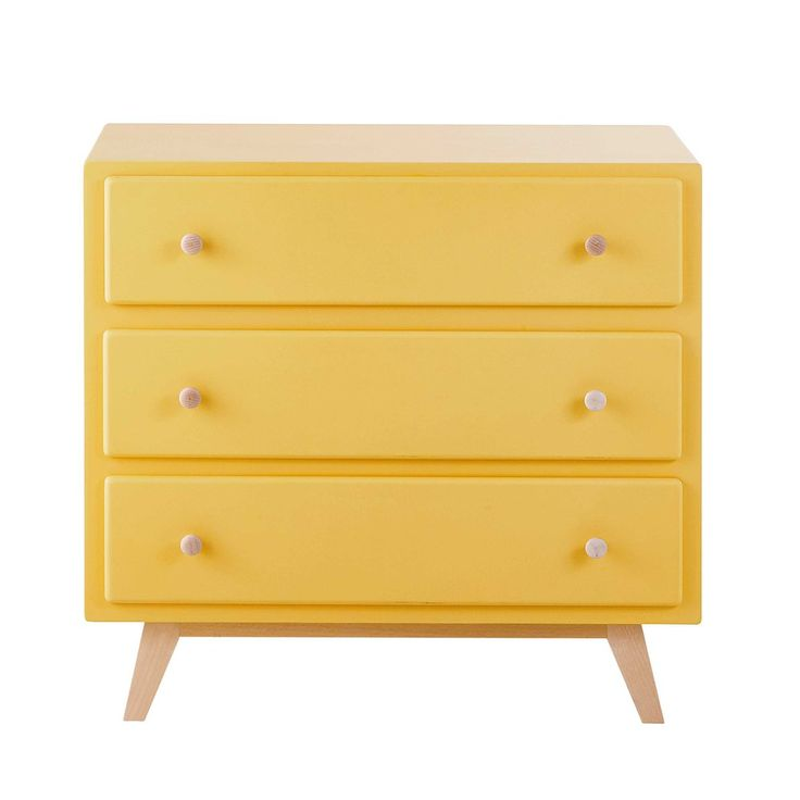 Commode en bois jaune L 85 cm