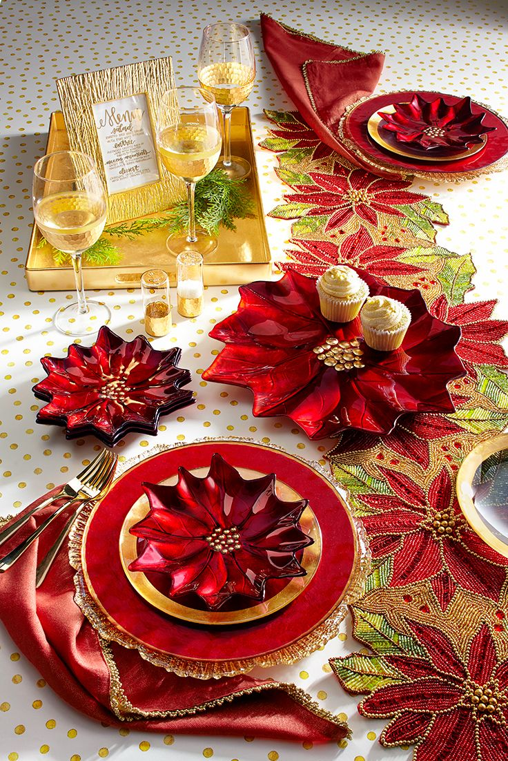 """You can take """"find the perfect decorative platter"""" off your list of things to do this holiday season. Hand-painted in Turkey, Pier 1's foil-glass poinsettia platter mixes easily with everyday white dinnerware but makes it all look more dressed up and festive. In other words: An instant classic."""