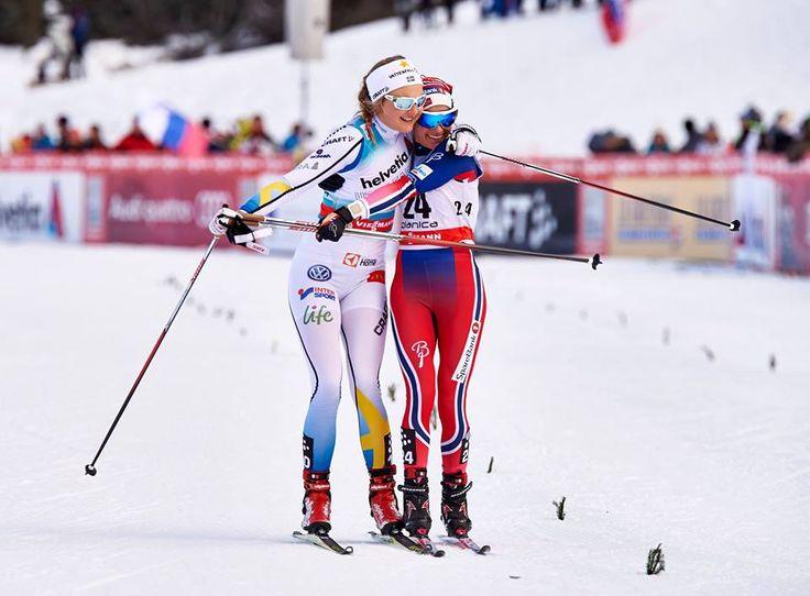16.01.2016, Planica, Slovenia (SLO):Stina Nilsson (SWE), Heidi Weng (NOR), (l-r) - FIS world cup cross-country, individual sprint, Planica (SLO).