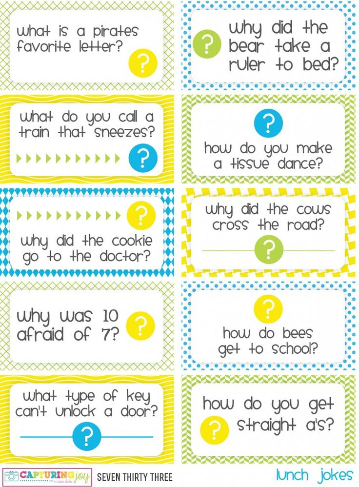 Printable kids lunch jokes and brain teasers. I don't know that I'd actually print these, but I'm going to steal them for our daily personal note on the lunchbox napkin!