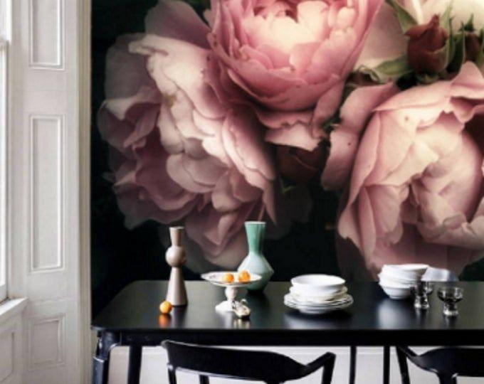 Large Flower Wallpaper Large Flower Mural Peel And Stick Etsy Bloemetjesbehang Muurschildering Behang Bloem Muurschildering
