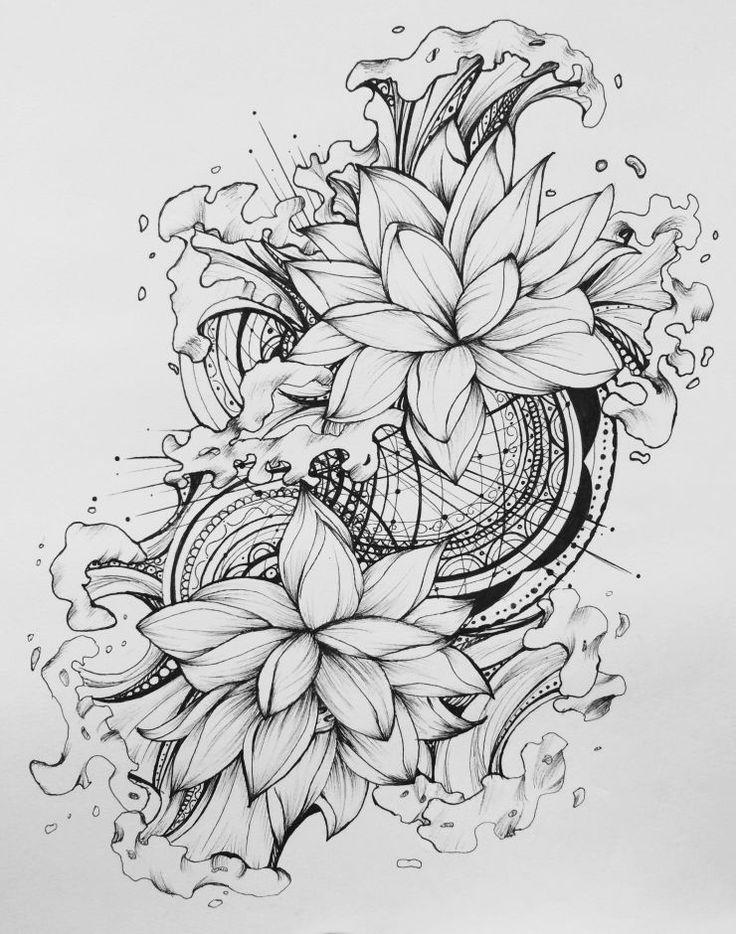 880 besten Tattoo Blumen Flower Bilder auf Pinterest  Tattoo zeichnungen Rosentattoos und Skizzen