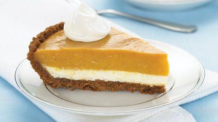Double-Layer Pumpkin Pie. 1pkg. (8 oz.) Cream Cheese. 1cup plus 1 Tbsp. milk. 1Tbsp. sugar. 1tub (8 oz.) COOL WHIP. 1 HONEY MAID Graham Pie Crust (6 oz.). 1can (15 oz.) pumpkin. 2pkg. (3.4 oz. each) JELL-O Vanilla Flavor Instant Pudding. 1tsp. ground cinnamon. 1/2tsp. ground ginger. 1/4tsp. ground cloves.