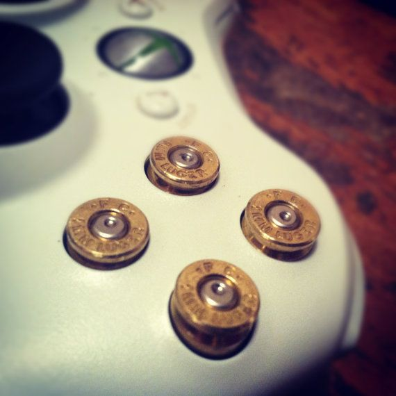 Xbox 360 bullet buttons 9mm rounds handmade handcrafted handgun geekery bullets video games call of duty
