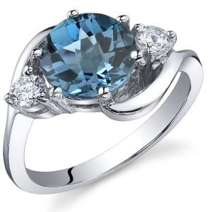 3 Stone Design 2.25 carats London Blue Topaz Ring in Sterling Silver Rhodium Nickel Finish