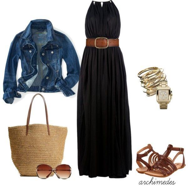 Black Maxi Dress, denim jacket, brown accents:)