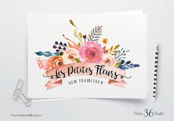 Instant Download Logo Photoshop Logo Watercolor Floral Logo