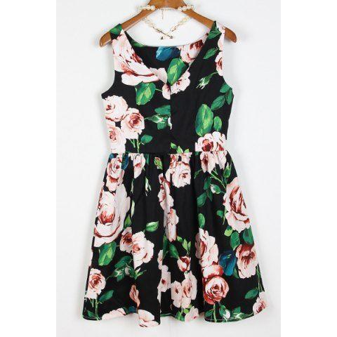 Vintage High-Waisted Floral Print Scoop Neck Sleeveless Women's Dress
