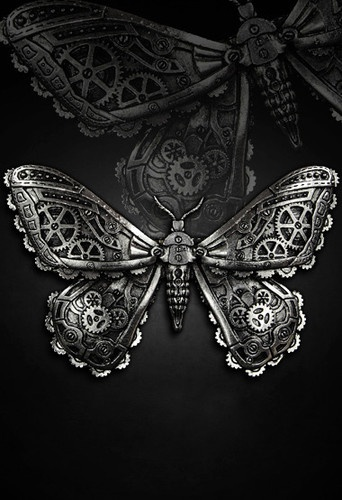 Restyle Mechanical Moth Hair Clip Goth Pewter | steampunk