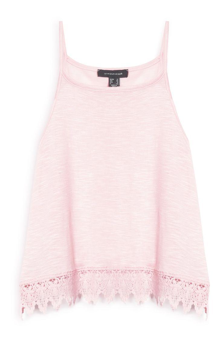 Primark - Camiseta rosa con puntilla de crochet