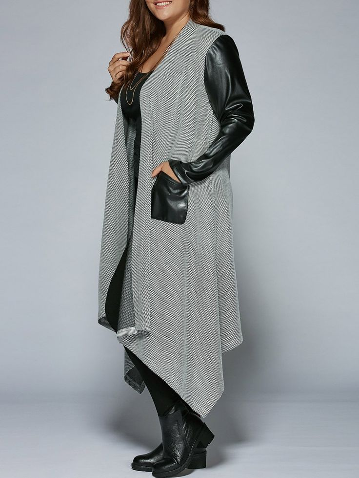 PU Patchwork Irregular Hem Coat in Black And Grey | Sammydress.com