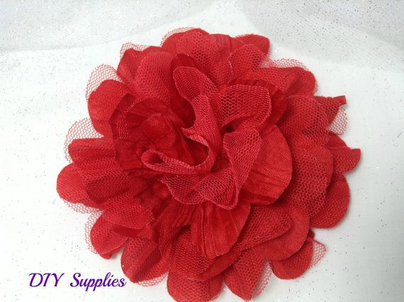 #Large #red #chiffon #flower - #diy #supplies - #fabric #flowers - #wholesale flowers - #hair #bow #supplies - #craft supplies