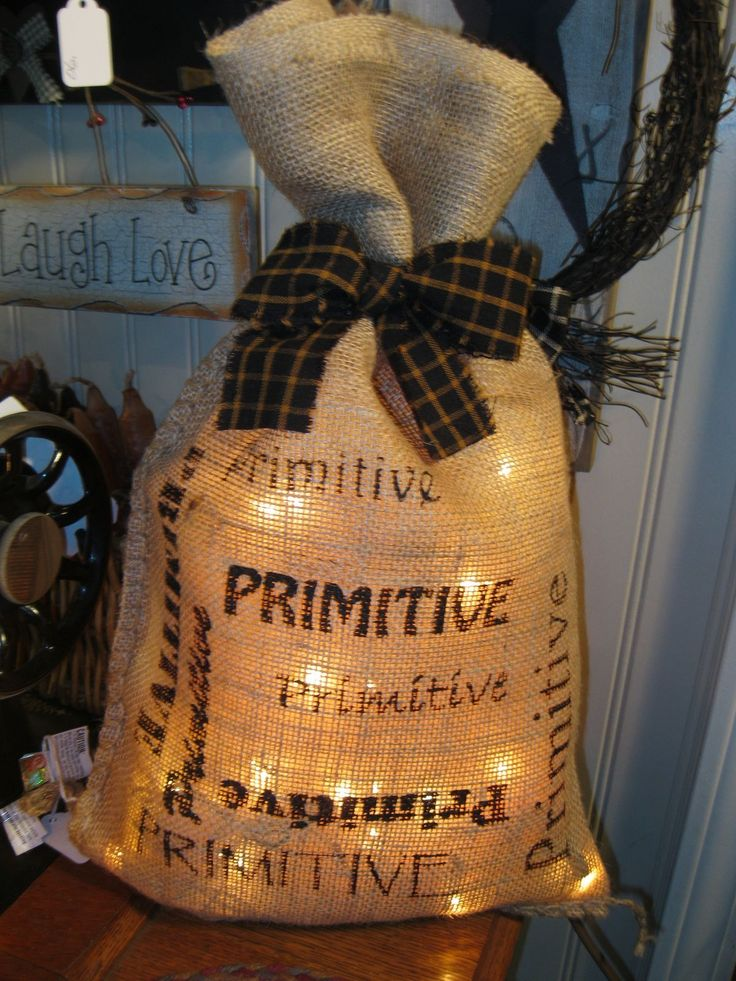 Lighted Burlap BagPrimitive Burlap Crafts, Burlap Bags With Lights, Burlap Christmas Bags, Lights Bags Primitives, Christmas Burlap Bags, Bags Primitives Primitives, Burlap Bags Lights, Fall Burlap Crafts With Lights, Burlap Bags Diy