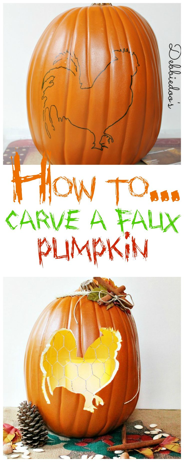 How to carve a #faux #pumpkins with a hot knife.  #MPumpkins @Michaels Stores