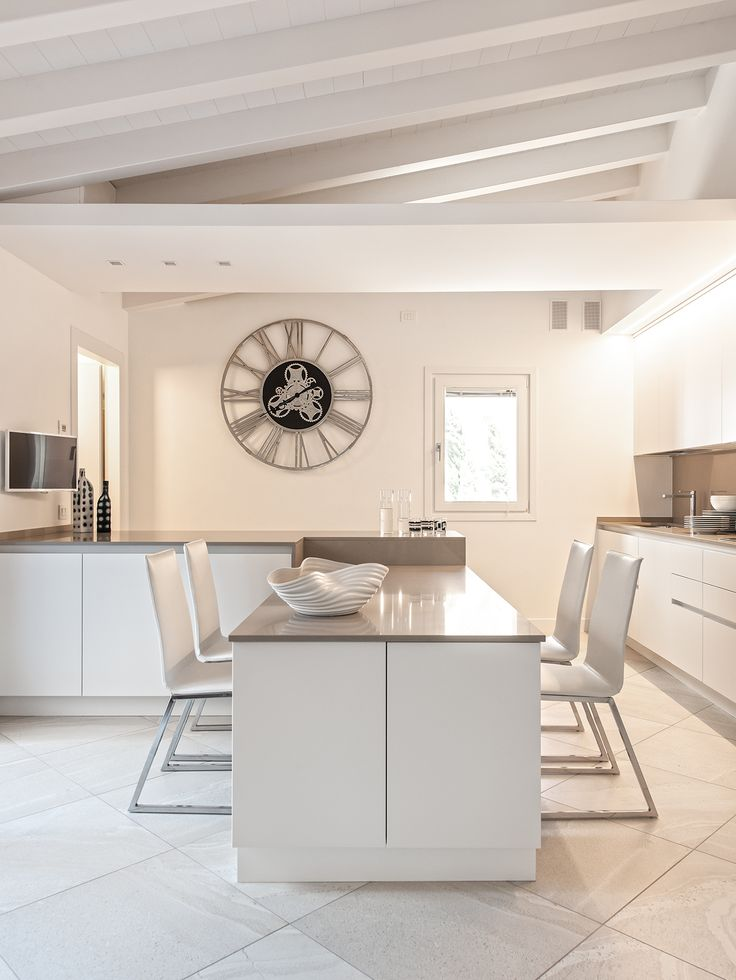 BRANDO concept cucina bianca travi kitchen minimal design modern style penisola bancone