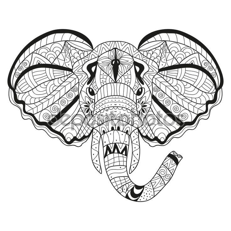 Руки drawn декоративного слона — стоковая иллюстрация #86501460