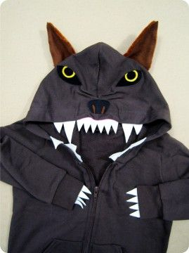 DIY wolf costume made with a hoodie.