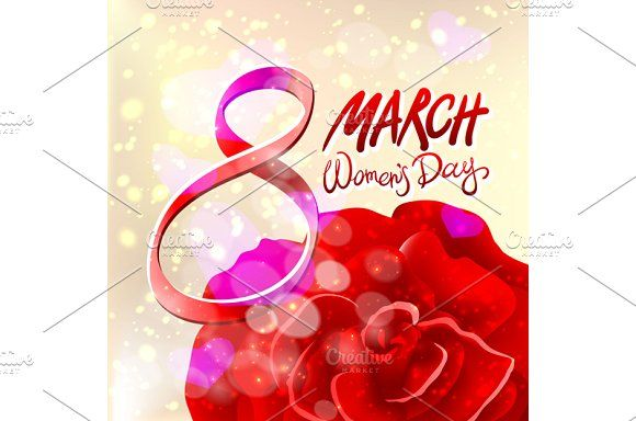 8 March women day, vector rose by Rommeo79 on @creativemarket