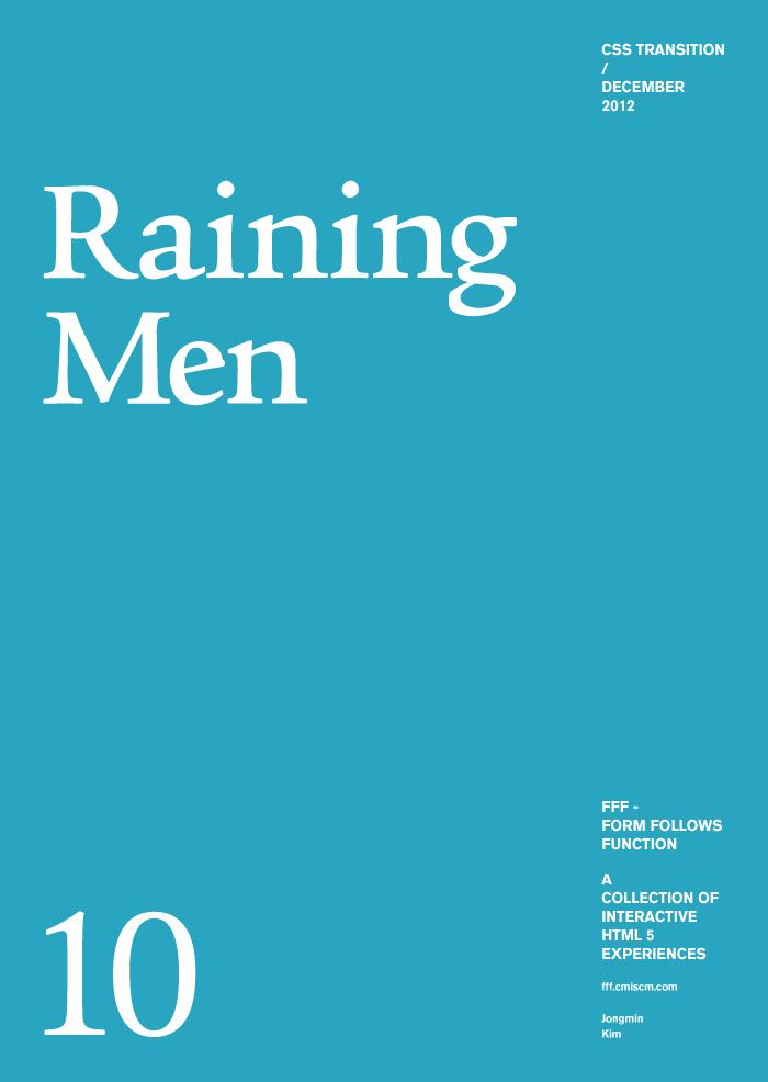 Form Follows Function, a cool HTML5 website - raining men, too!