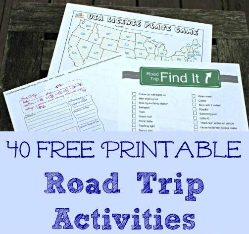 40 Free Road Trip printable activities