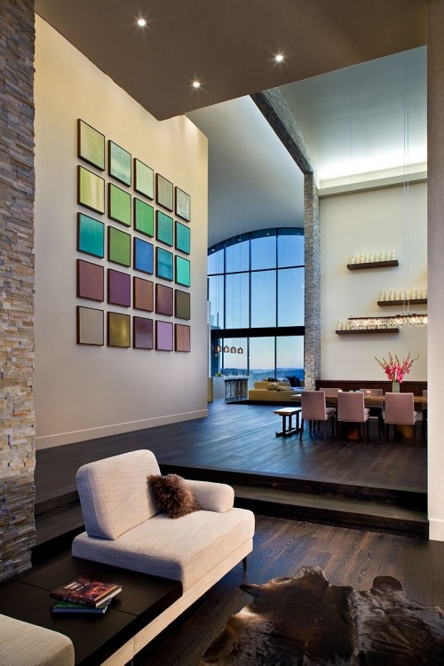 This type of DIY wall decor doesn't usually do it for me - since it often looks homemade, but I'm liking this one.  Maybe it's the HUGE scale of it that's working...: Interior Design, Wall Art, Ideas, Living Rooms, Color, Dream House, Interiors, Contemporary Houses
