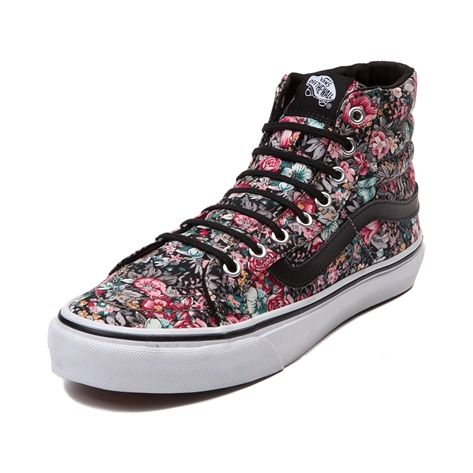 Shop for Vans Sk8 Hi Slim Floral Skate Shoe in Floral at Journeys Shoes. Shop today for the hottest brands in mens shoes and womens shoes at Journeys.com.Classic hi top skate style at its finest. The slimmed down lower profile Sk8 Hi Slim from Vans features a synthetic upper, padded collar, vulcanized rubber outsole, and Vans Off The Wall tongue patch. This style features a vintage floral print upper with black side stripe. Available only online at Journeys.com and SHIbyJourneys.com!