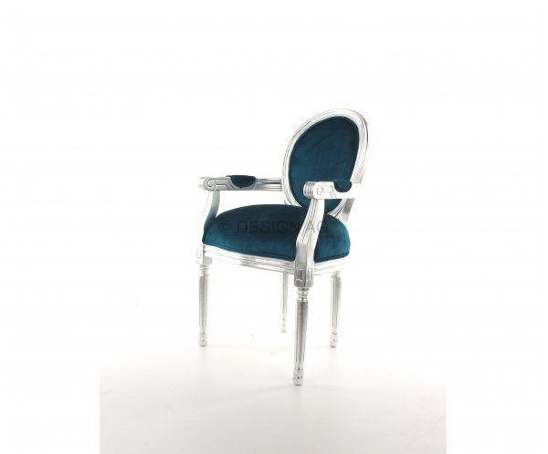 Louis Silverleaf Krzesło z Podłokietnikami Niebieskie - 2