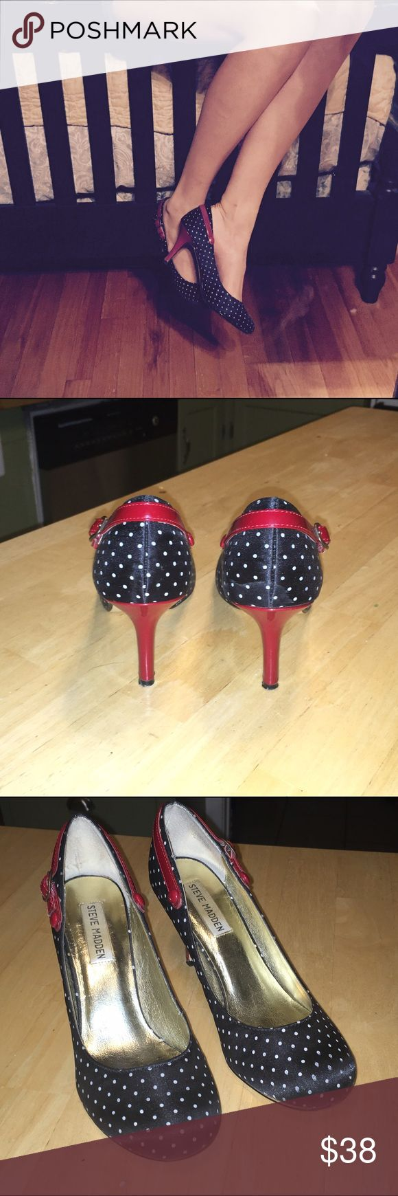 Steve Madden Pumps Black with white polk-a-dot pumps with ruby red heels and decorative straps. Steve Madden Shoes Heels