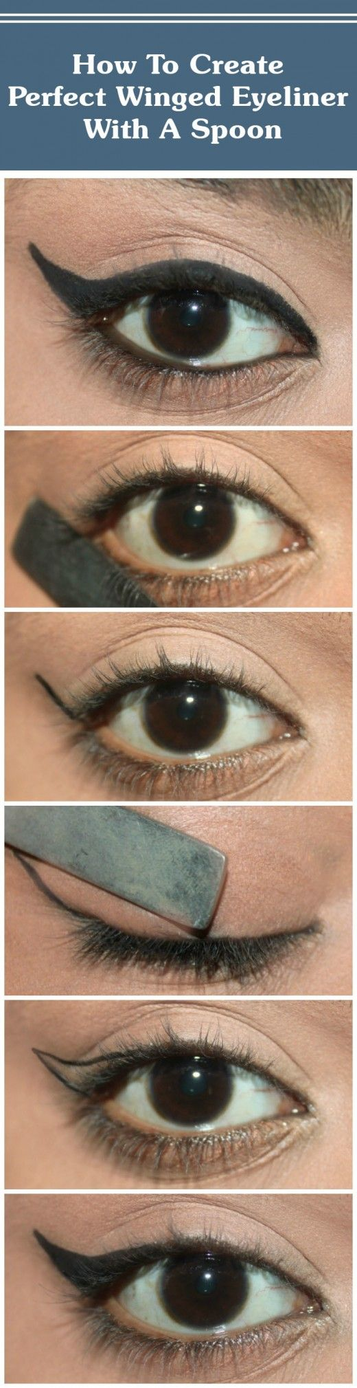How To Create Perfect Winged Eyeliner With A Spoon?
