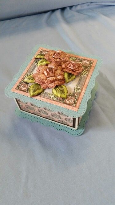 Gift box made with SARZCARDZ large two piece box, Heartfelt Creations Once Upon A Time papers and vintage floret stamps and dies and Martha Stewart punch around the page punches.
