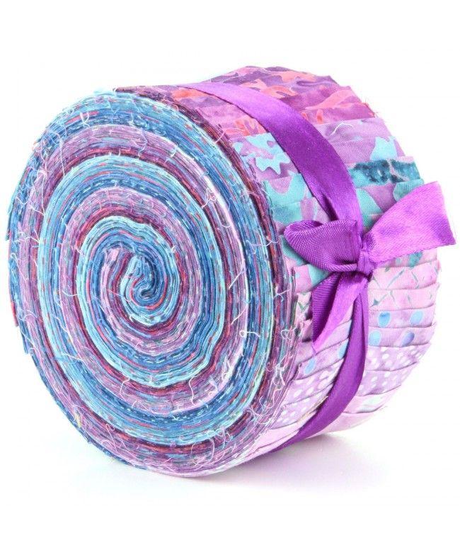 LOUDelephant Cotton Batik Jelly Roll Pre Cut Fabric Bundle - Purples & Blues