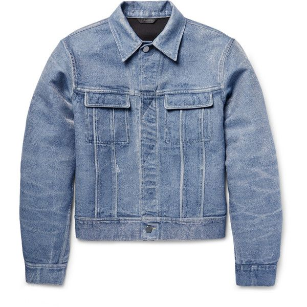 Calvin Klein Collection London Bonded Denim Jacket (1,023,005 KRW) ❤ liked on Polyvore featuring men's fashion, men's clothing, men's outerwear, men's jackets, mens denim jacket, mens white denim jacket, calvin klein mens jacket and mens white jacket