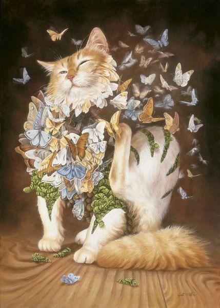 Twee van mijn lievelings dieren,katten en vlinders  zo lief                                lb xxx.