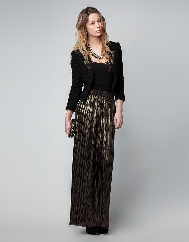 Bershka Serbia - Bershka metallic tones pleated skirt