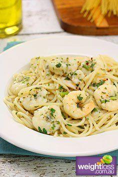 Garlic Prawn Spaghetti. #HealthyRecipes #DietRecipes #WeightLossRecipes weightloss.com.au