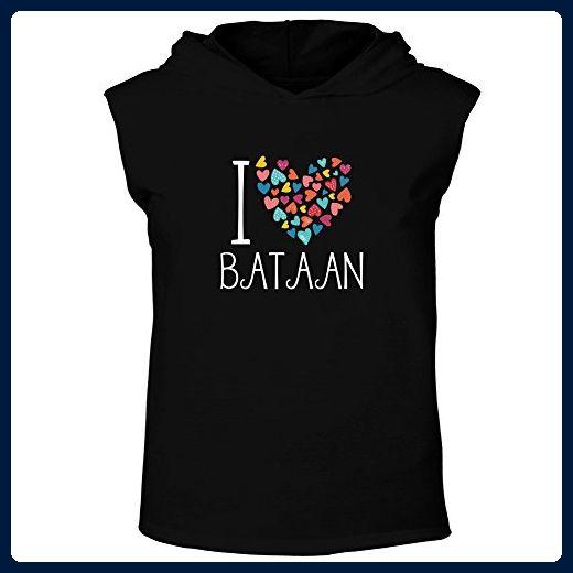 Idakoos - I love Bataan colorful hearts - Cities - Hooded Sleeveless T-Shirt - Cities countries flags shirts (*Amazon Partner-Link)