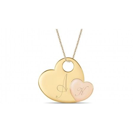 Engravable Hearts Pendant @ CherryTin.com  Two heart pendant in 18k yellow gold & pink gold that can be engraved with initials for a truly personalized gift.