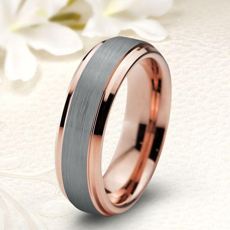 Kétszínű, rozé arannyal bevont modern stílusú tungsten karikagyűrű