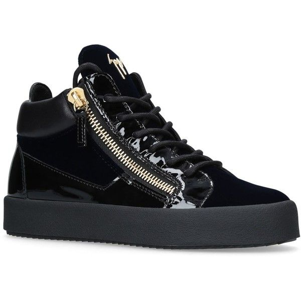 Giuseppe Zanotti Patent and Velvet Mid Top Sneakers ($715) ❤ liked on Polyvore featuring shoes, sneakers, giuseppe zanotti trainers, laced up shoes, sport shoes, patent leather shoes and zip sneakers