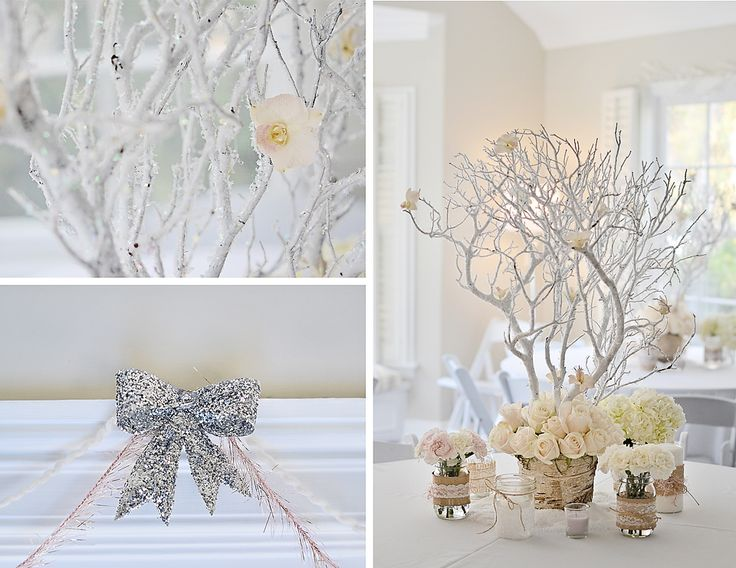 """""""I found an online tutorial about setting the Manzanita branches in Plaster of Paris,"""" Emily said. """"I followed the steps and was very pleased with the end result! I glued dried flowers onto the branches to complete the look."""" Source: Emily K Paperie"""