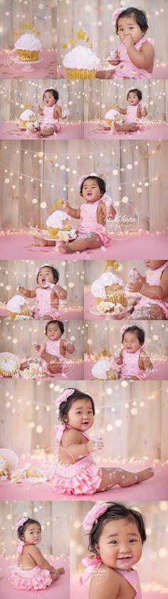 Pink | Pink + Gold | Cake smash | First Birthday | Heidi Hope Photography