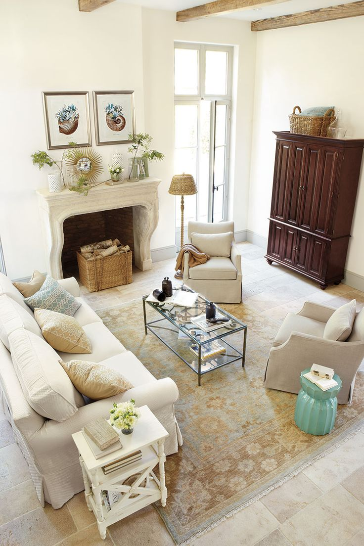 Traditional Living Room With Blue Sofa See More Oushak Rugs 2