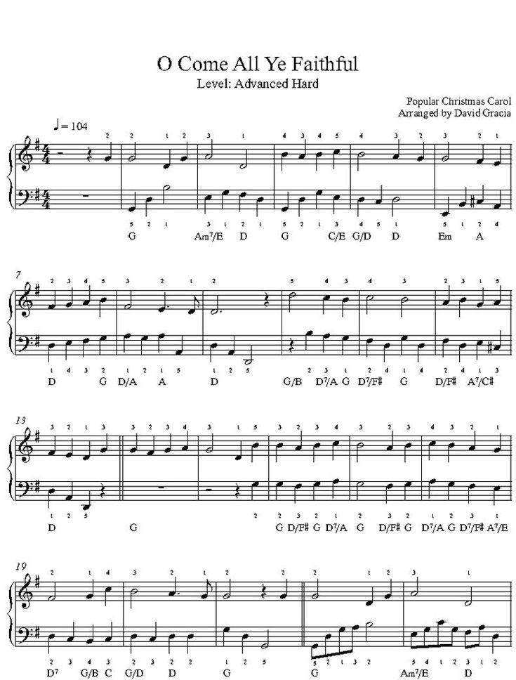 O Come All Ye Faithful by Traditional Piano Sheet Music Advanced Level in 2020   Sheet music, Piano sheet music, Piano sheet