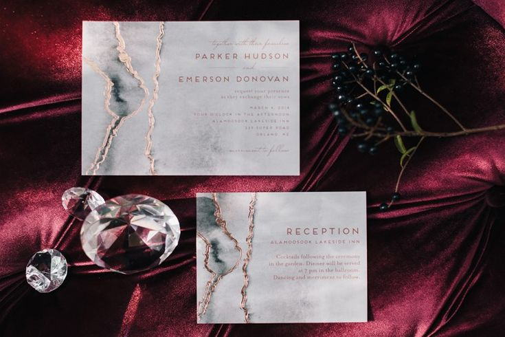Glam Wedding Inspo – an Aisle Society Experience presented by Minted  Unique marble and rose gold wedding invitations!   Photography: Erika Layne Photography