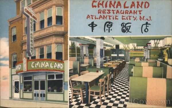 Chinaland Restaurant Atlantic City City Vintage Postcard