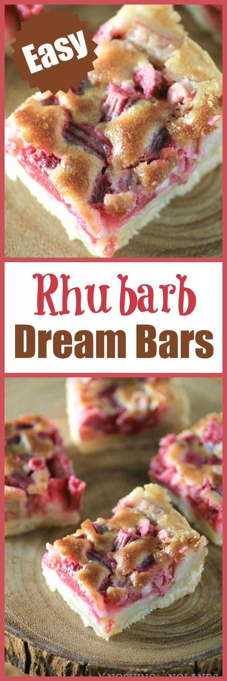 Rhubarb Dream Bars - A creamy rhubarb custard nestled into a flaky butter crust. The perfect spring dessert recipe.