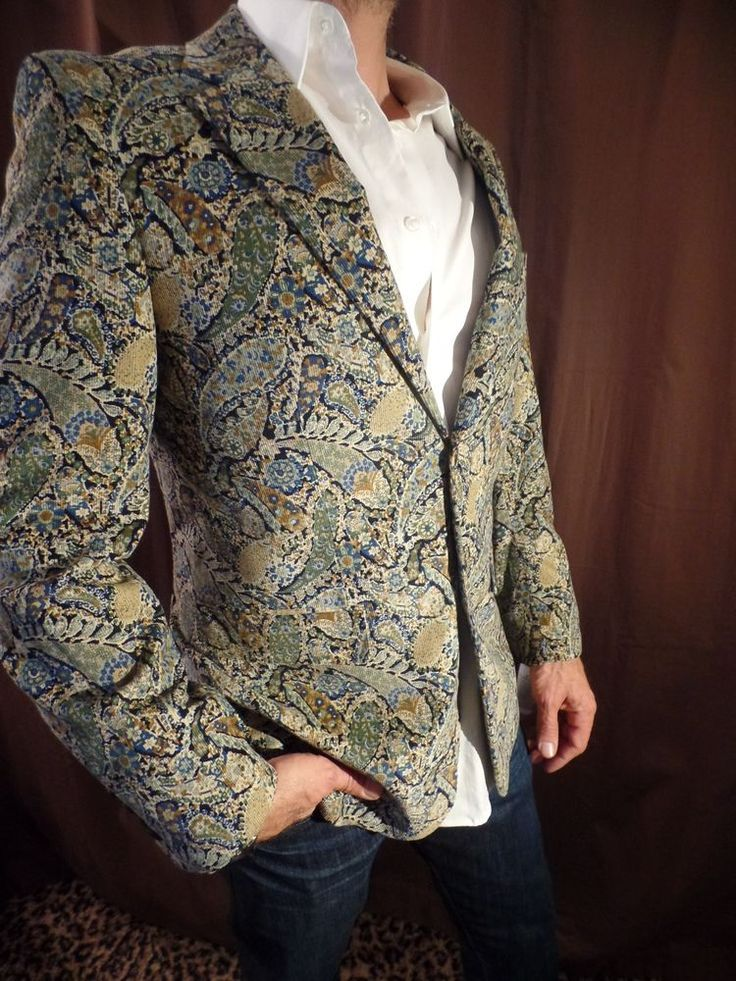 Alan Flusser Mens Paisley Corduroy Jacket Blazer Coat New